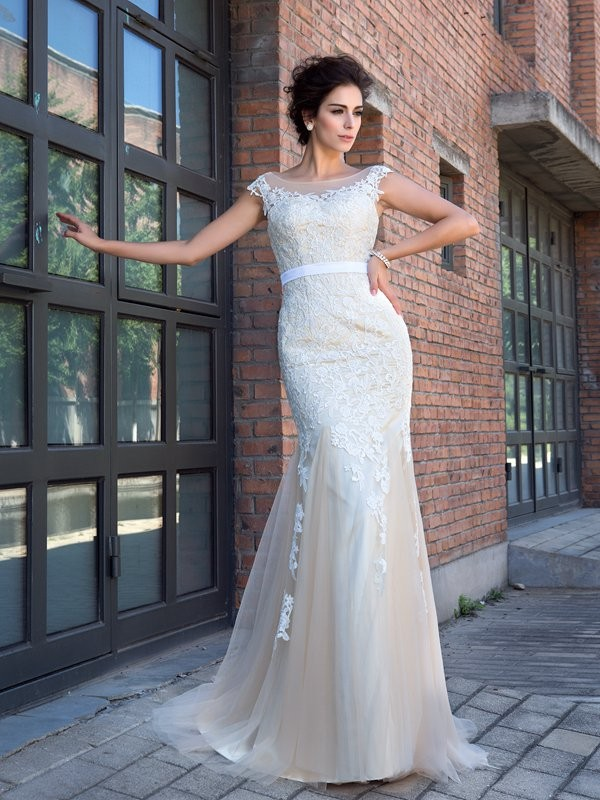 Modern Mood Mermaid Style Sheer Neck Applique Long Net Dresses
