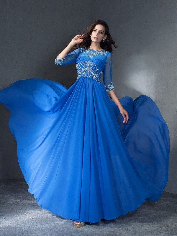 Absolute Lovely Princess Style Scoop Beading Long Chiffon Dresses