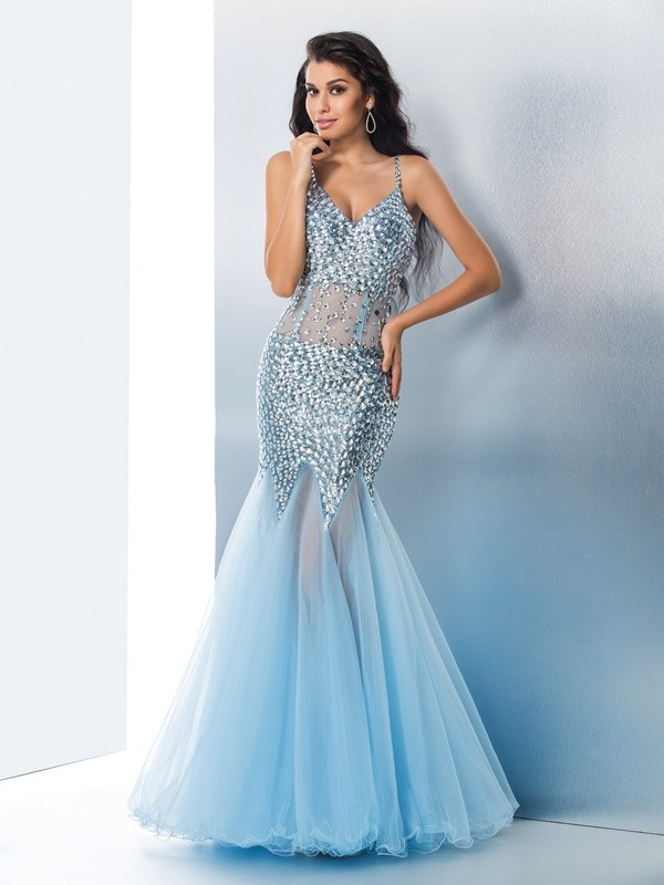 Pleasant Emphasis Mermaid Style Spaghetti Straps Sequin Long Tull Dresses
