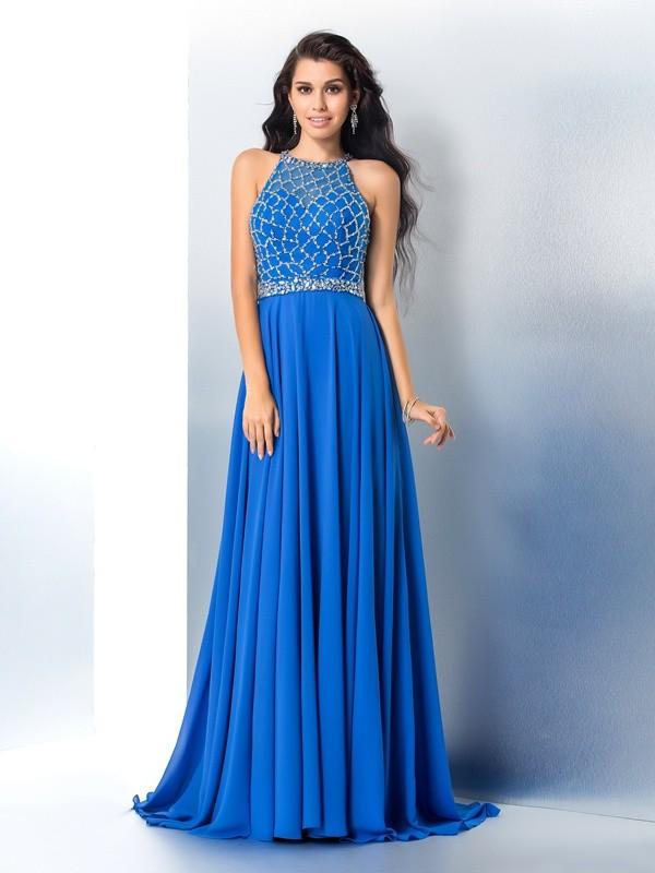 Time to Shine Princess Style Scoop Beading Long Chiffon Dresses