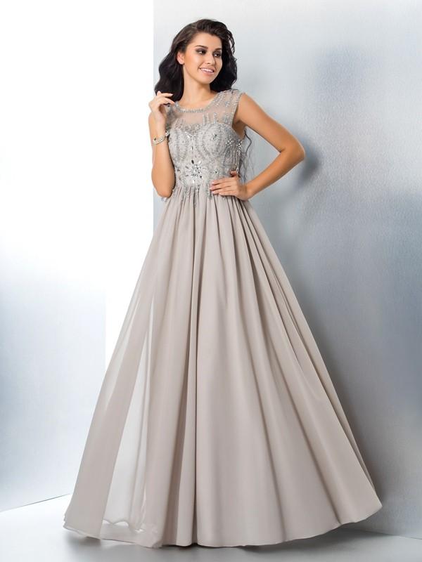 Festive Self Princess Style Sheer Neck Beading Long Chiffon Dresses
