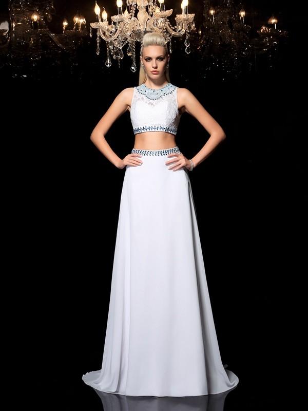 Fabulous Fit Princess Style Jewel Beading Long Chiffon Two Piece Dresses
