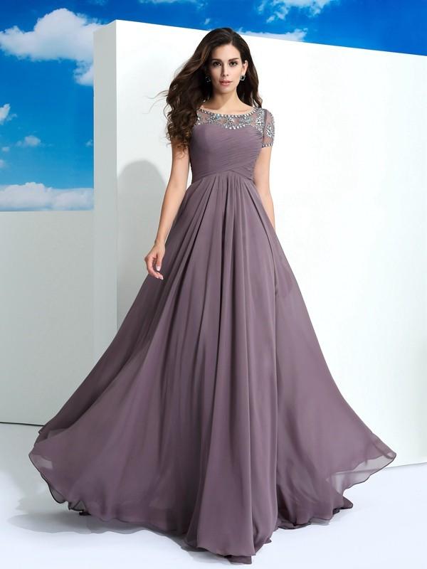 Open to Adoration Princess Style Sheer Neck Beading Long Chiffon Dresses
