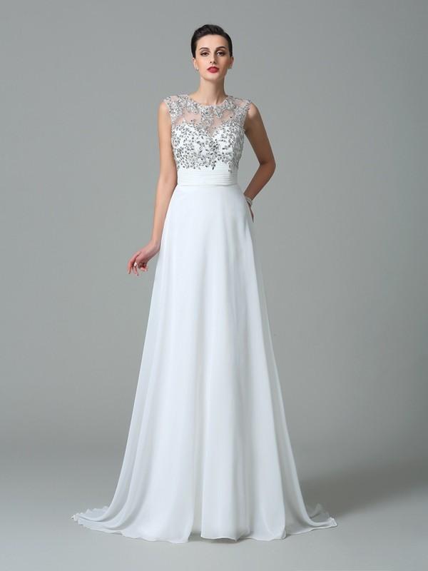 Vibrant Stylist Princess Style Jewel Beading Long Chiffon Dresses