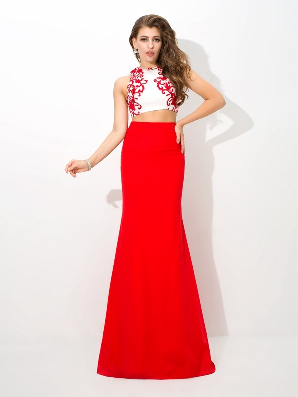 Just My Style Sheath Style High Neck Applique Long Chiffon Two Piece Dresses
