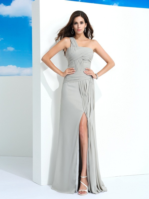 Defined Shine Sheath Style One-Shoulder Pleats Long Chiffon Dresses