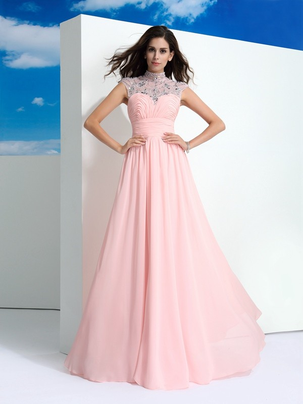 Touch of Texture Princess Style Sheer Neck Beading Long Chiffon Dresses