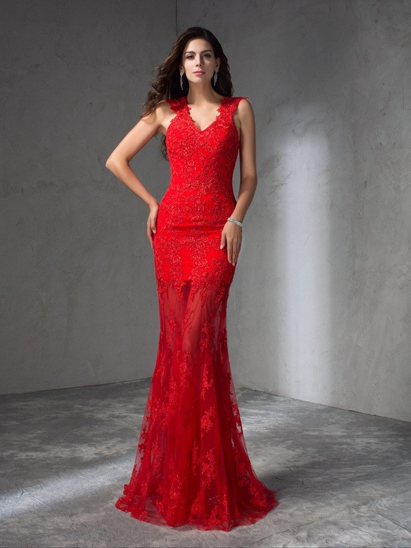 Easily Adored Mermaid Style V-neck Applique Long Satin Dresses