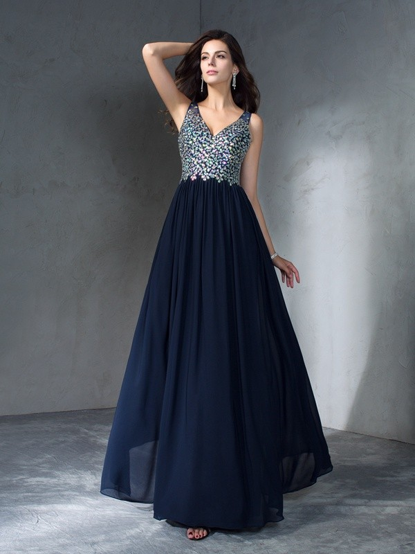 Dashing Darling Princess Style V-neck Beading Long Chiffon Dresses