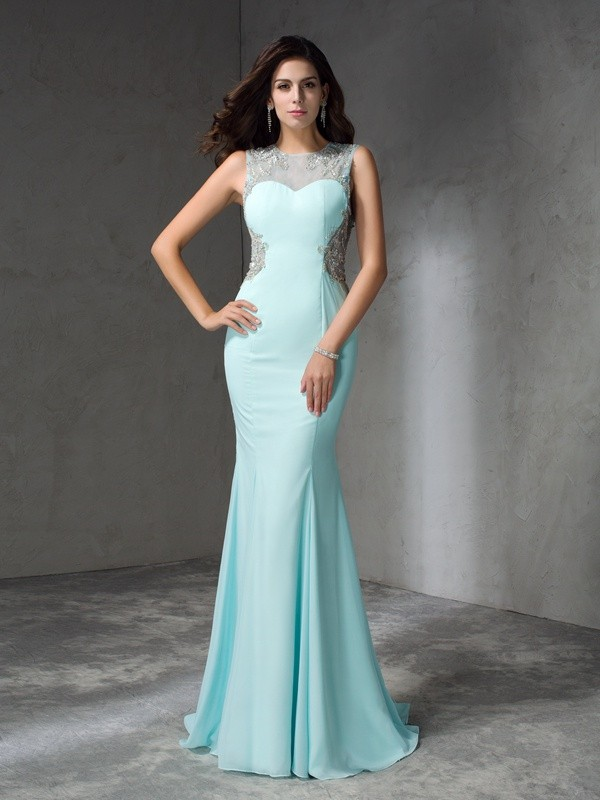 Glitz the Spot Mermaid Style Jewel Beading Long Chiffon Dresses