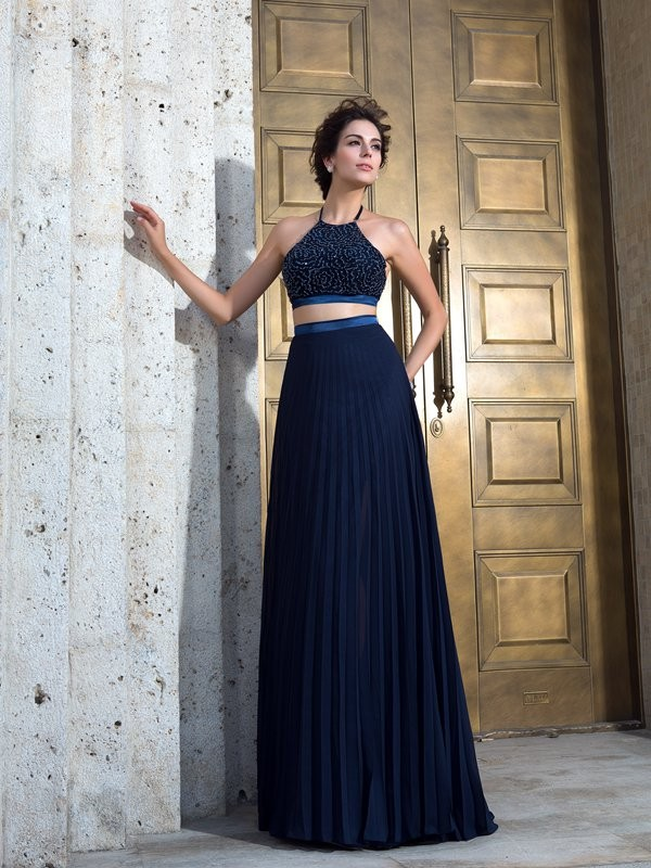 Savor the Occasion Princess Style Spaghetti Straps Pleats Long Chiffon Two Piece Dresses