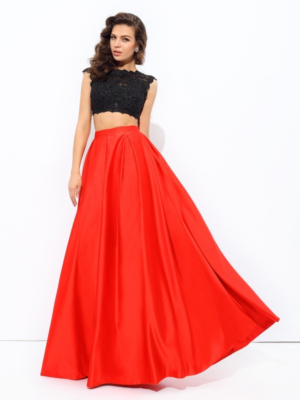 Eye-Catching Charm Princess Style Scoop Lace Long Satin Two Piece Dresses