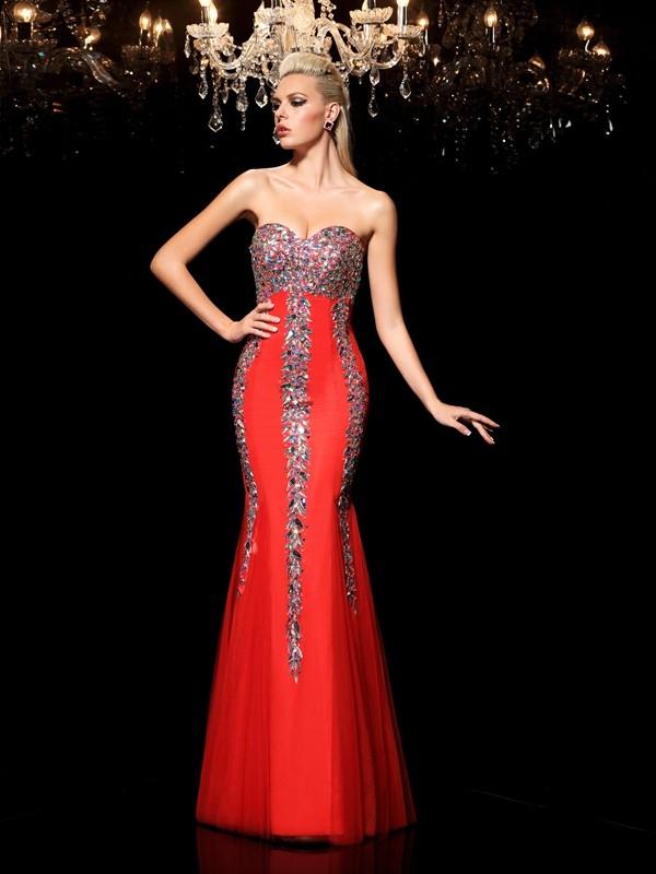 Absolute Lovely Sheath Style Sweetheart Rhinestone Long Net Dresses