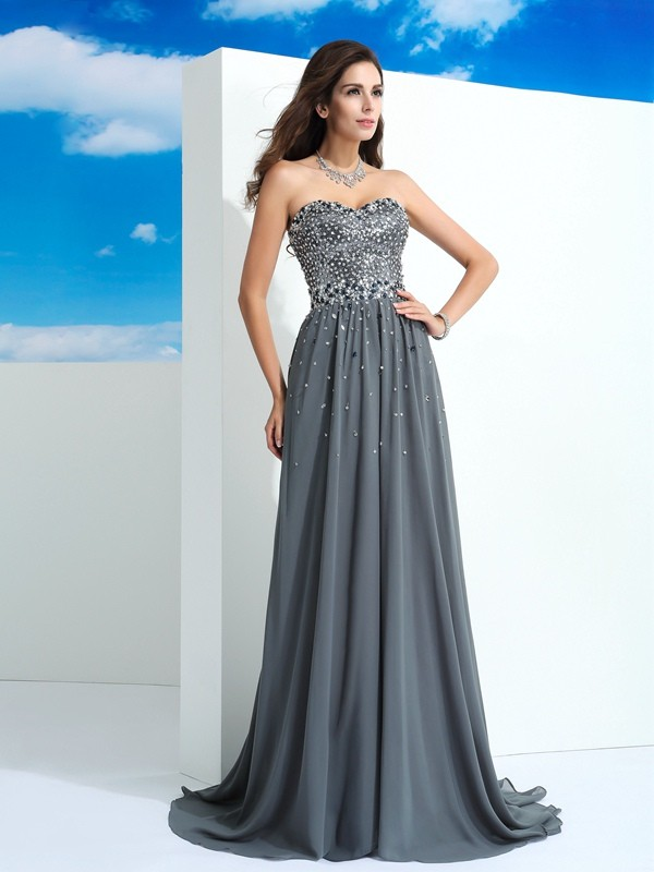 Aesthetic Honesty Princess Style Sweetheart Beading Long Chiffon Dresses