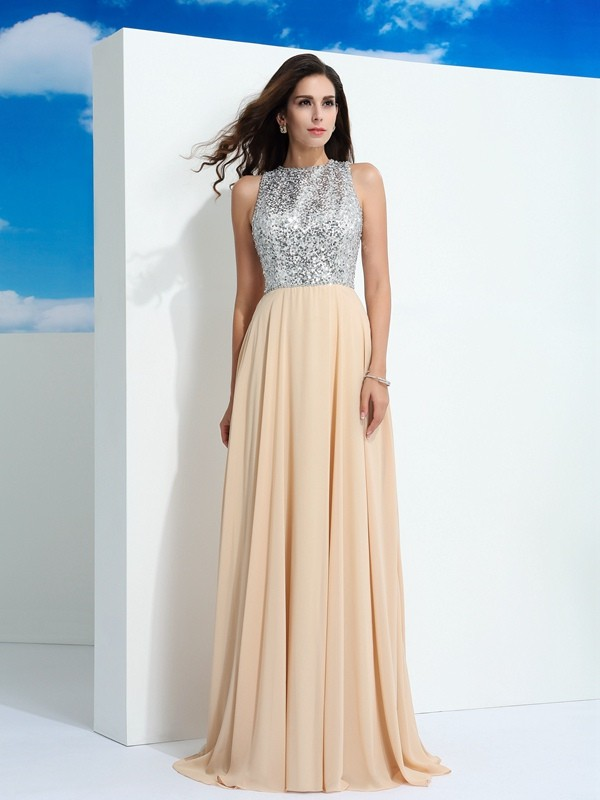 Chic Chic London Princess Style Scoop Paillette Long Chiffon Dresses