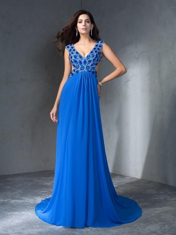 Time to Shine Princess Style V-neck Sequin Long Chiffon Dresses