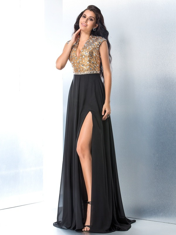 Creative Courage Princess Style V-neck Rhinestone Long Chiffon Dresses