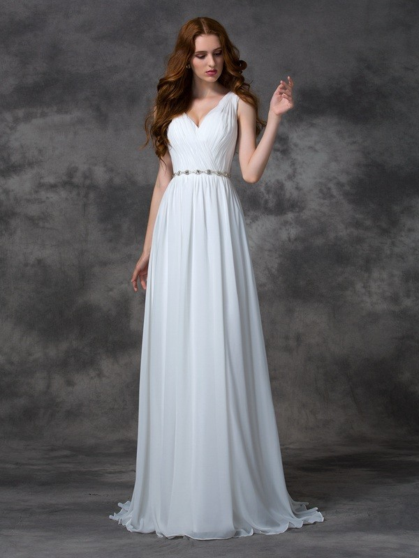 Efflorescent Dreams Princess Style V-neck Beading Long Chiffon Dresses
