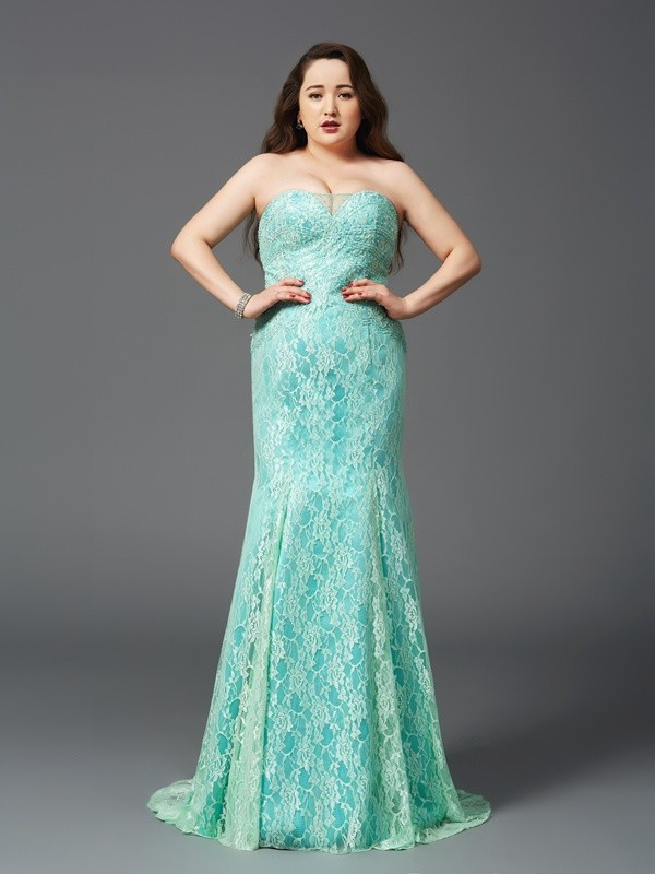 Sweet Sensation Sheath Style Strapless Lace Long Satin Plus Size Dresses