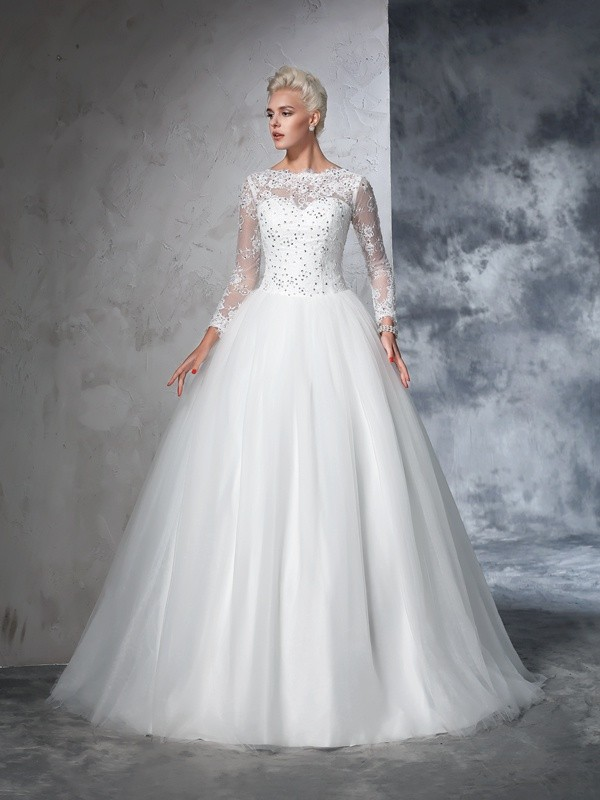 Memorable Magic Ball Gown Bateau Lace Long Net Wedding Dresses