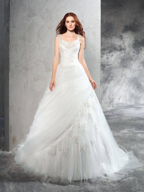 Stylish Refresh Ball Gown Straps Applique Long Net Wedding Dresses