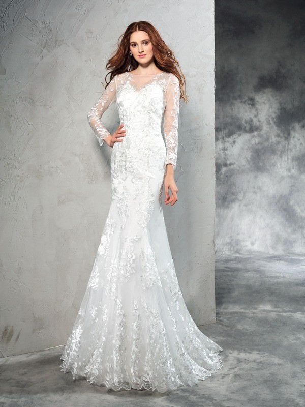 Fresh Picks Sheath Style Sheer Neck Lace Long Net Wedding Dresses