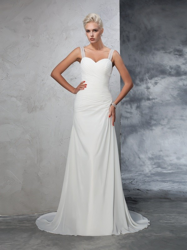 Touch of Texture Mermaid Style Straps Ruched Long Chiffon Wedding Dresses