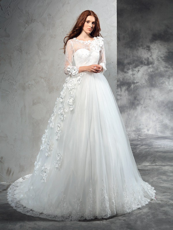 Naturally Chic Ball Gown Sheer Neck Hand-Made Flower Long Net Wedding Dresses