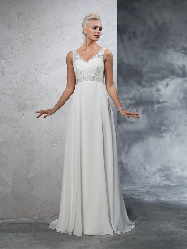 Befits Your Brilliance Princess Style V-neck Beading Long Chiffon Wedding Dresses