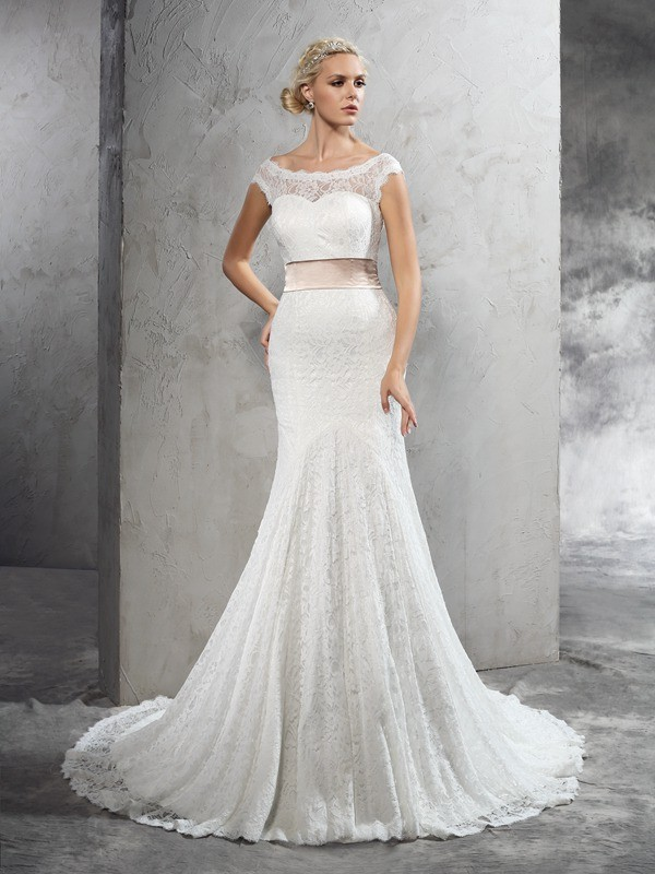 Glitz the Spot Sheath Style Sheer Neck Sash/Ribbon/Belt Long Lace Wedding Dresses