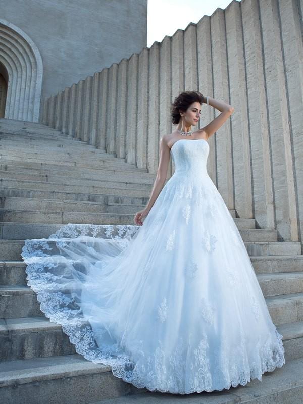 Modern Mood Ball Gown Spaghetti Straps Applique Long Satin Wedding Dresses