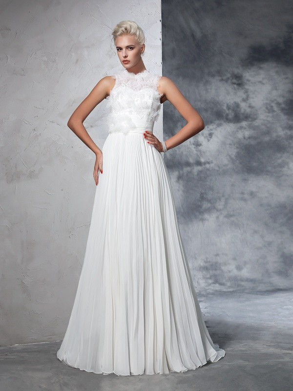 Intuitive Impact Princess Style High Neck Pleats Long Chiffon Wedding Dresses