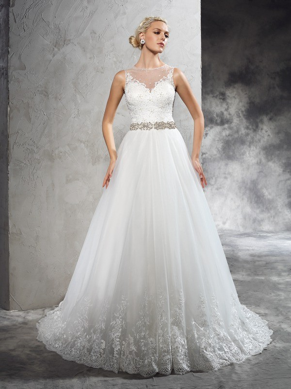 Pleasant Emphasis Princess Style Sheer Neck Beading Long Net Wedding Dresses