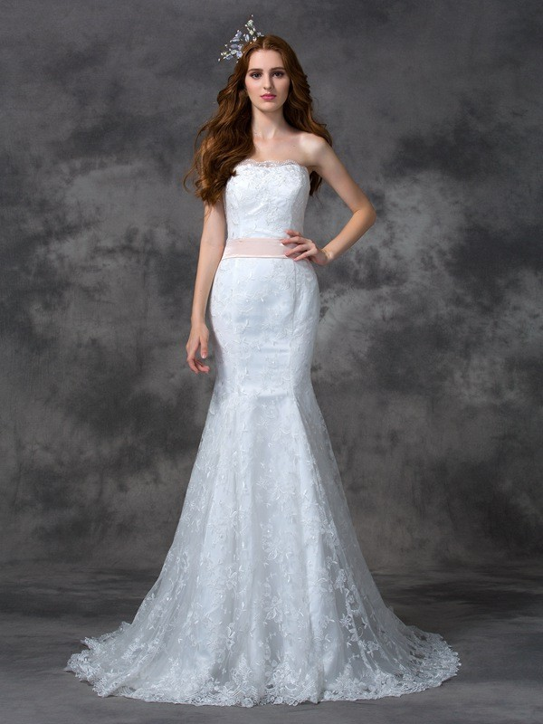 Chic Chic London Mermaid Style Strapless Sash/Ribbon/Belt Long Lace Wedding Dresses