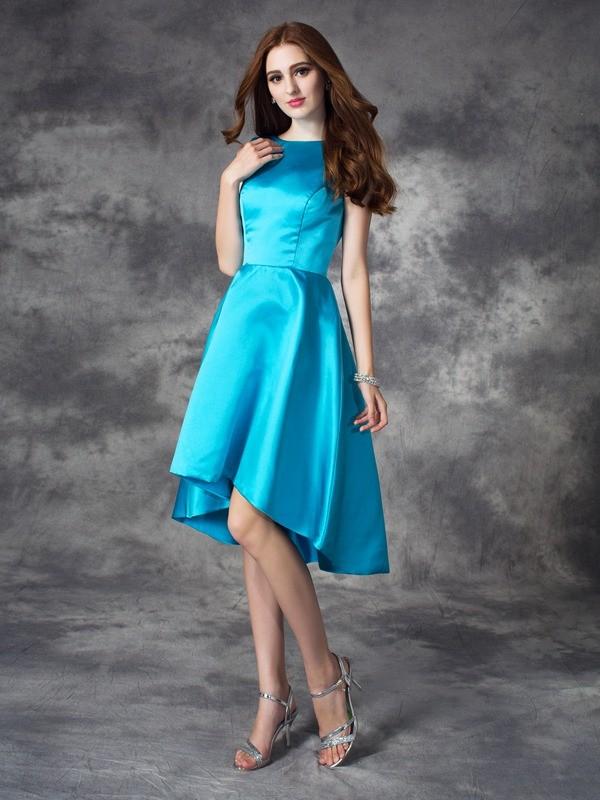 Sweet Sensation Princess Style Bateau Ruffles High Low Satin Bridesmaid Dresses