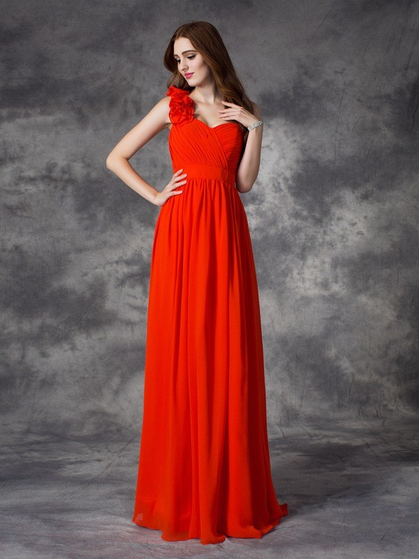 Styled to Smile Princess Style One-Shoulder Hand-Made Flower Long Chiffon Bridesmaid Dresses