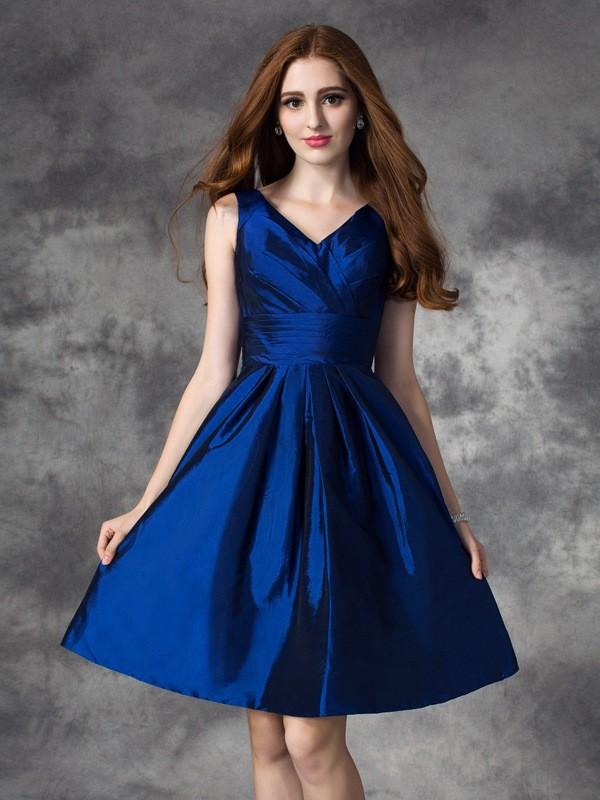 First Impressions Princess Style V-neck Ruched Short Taffeta Bridesmaid Dresses