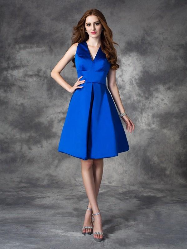 Confident Option Princess Style V-neck Ruched Short Satin Bridesmaid Dresses