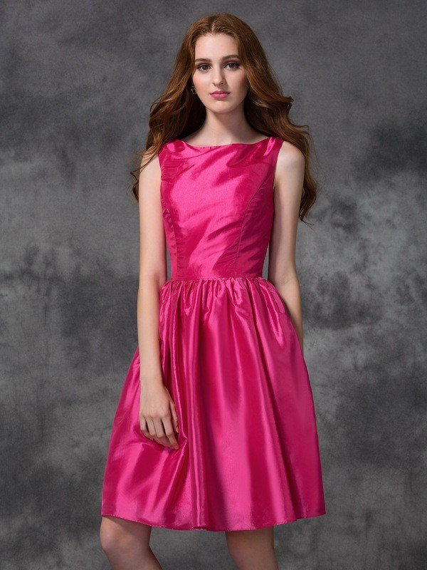 Fabulous Fit Princess Style Bateau Ruched Short Taffeta Bridesmaid Dresses