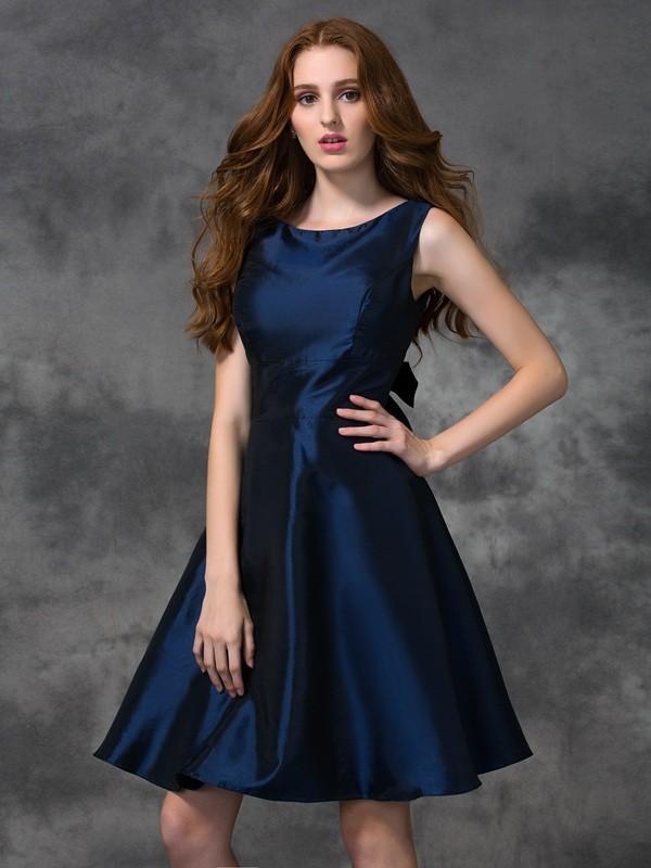 Visual Moment Princess Style Scoop Short Taffeta Bridesmaid Dresses