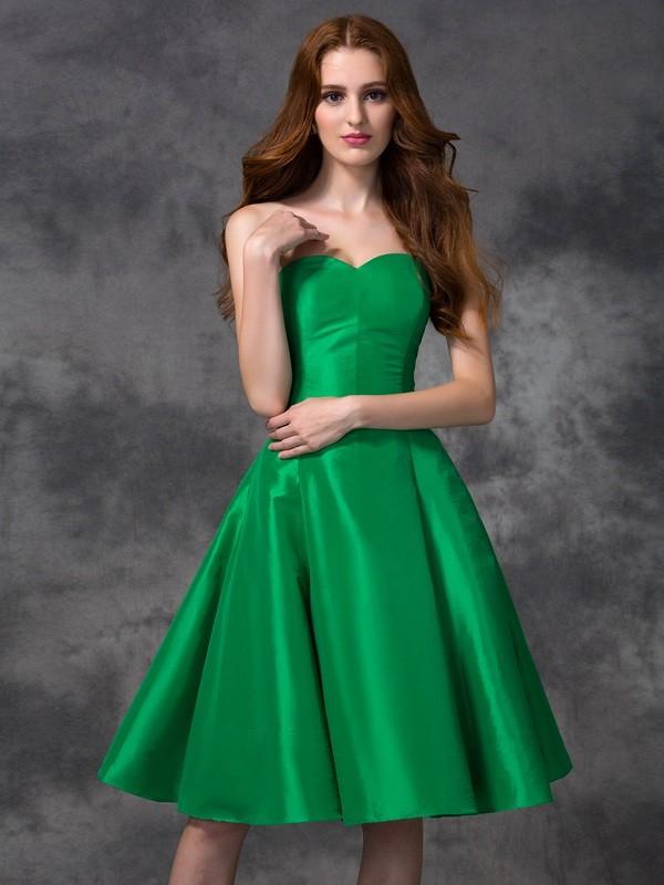 Cheerful Spirit Princess Style Sweetheart Short Taffeta Bridesmaid Dresses