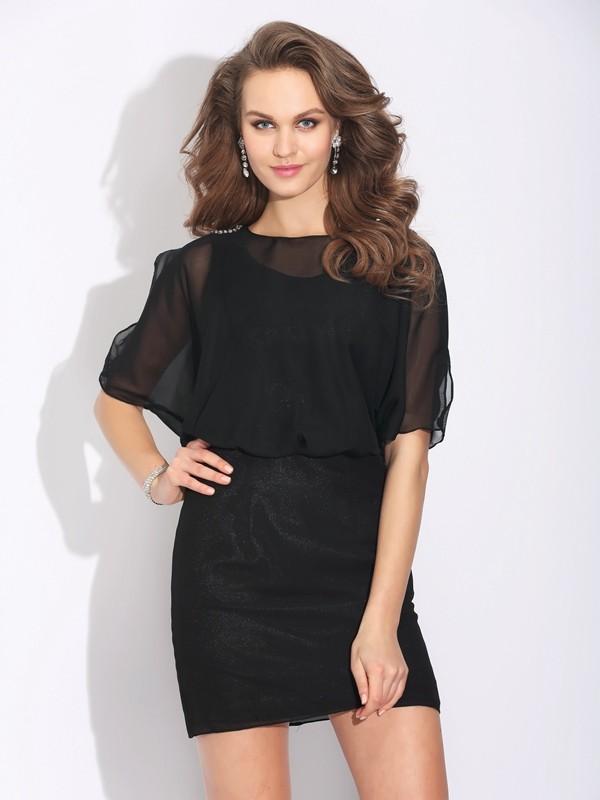 Just My Style Princess Style Jewel Beading Short Chiffon Dresses