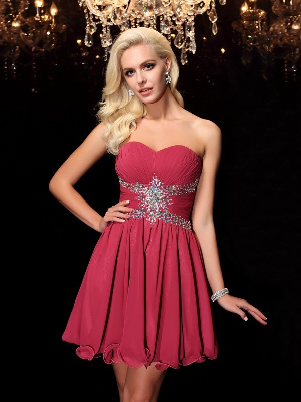 Defined Shine Princess Style Sweetheart Rhinestone Short Chiffon Dresses