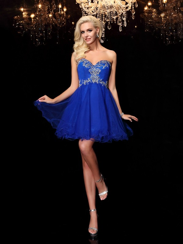 Intuitive Impact Princess Style Sweetheart Beading Short Net Dresses