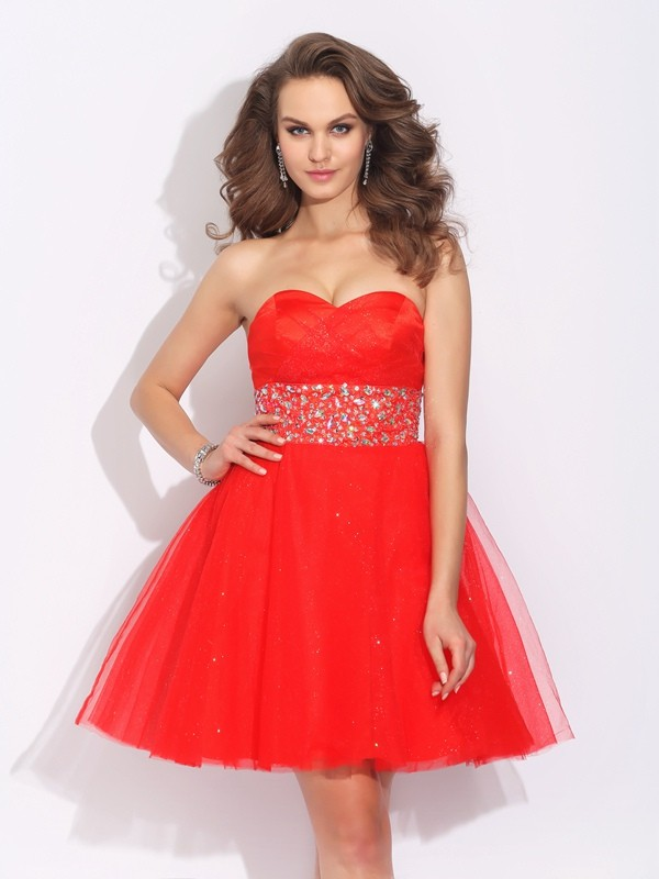 Absolute Lovely Princess Style Sweetheart Rhinestone Short Net Dresses