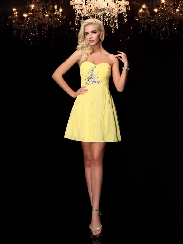 Limitless Looks Princess Style Sweetheart Rhinestone Short Chiffon Dresses