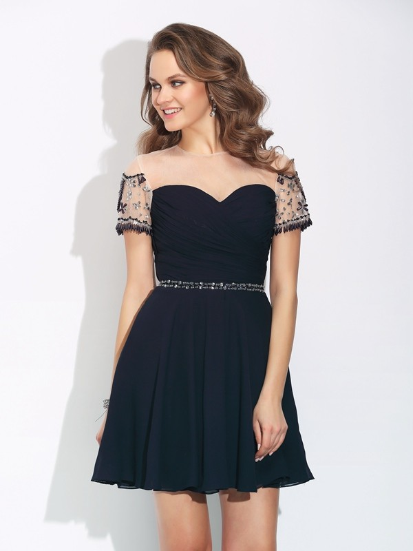Voiced Vivacity Princess Style Jewel Beading Short Chiffon Dresses