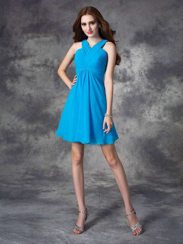 Sweet Sensation Princess Style V-neck Ruffles Short Silk like Satin Dresses