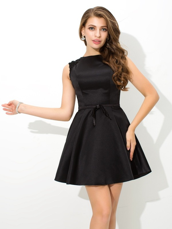 Festive Self Princess Style High Neck Sash/Ribbon/Belt Short Satin Cocktail Dresses