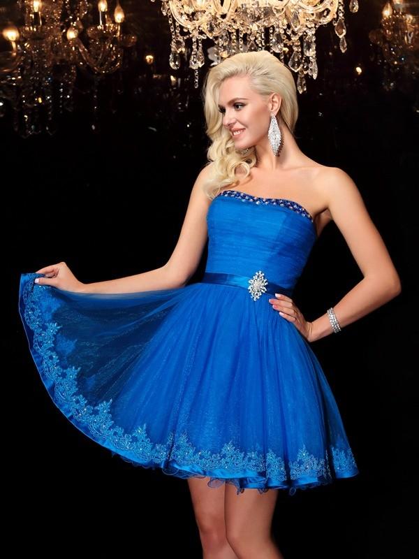 Dancing Queen Princess Style Strapless Beading Short Net Dresses